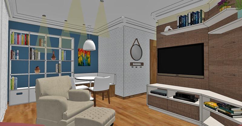 Projeto de decoração para uma sala irregular- opção escolhida - vista 2