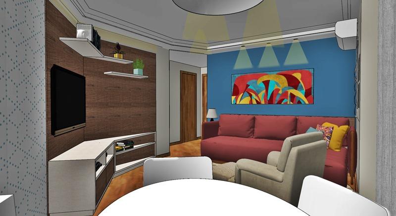 Projeto de decoração para uma sala irregular- opção escolhida - vista