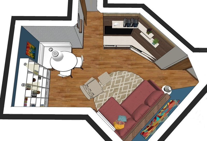 Projeto de decoração para uma sala irregular- opção escolhida