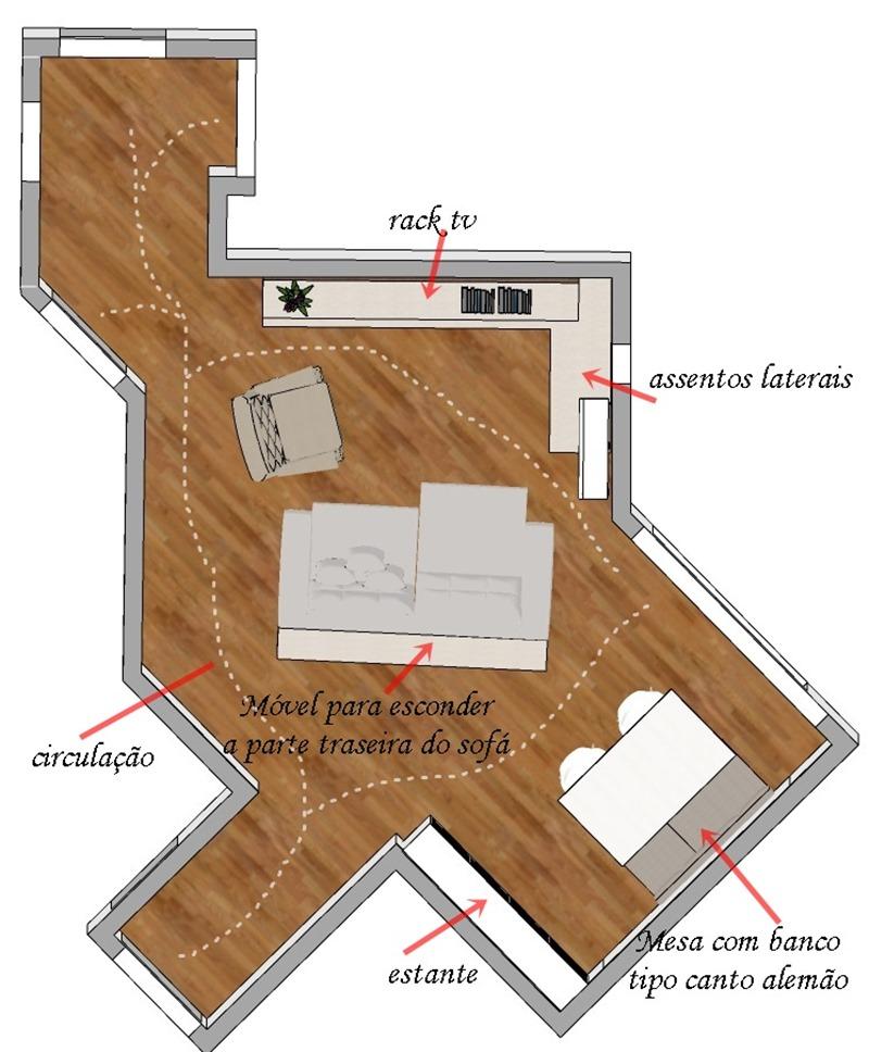 Projeto de decoração para uma sala irregular- Primeira opção