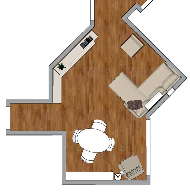 Projeto de decoração para uma sala irregular- terceira opção - planta