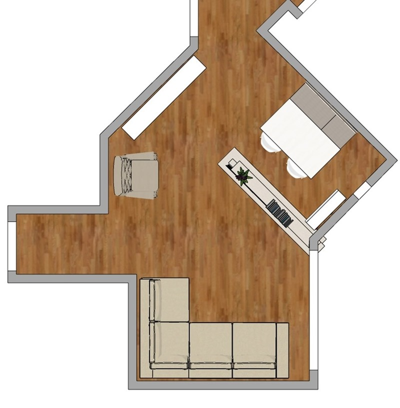 Projeto de decoração para uma sala irregular- segunda opção - planta