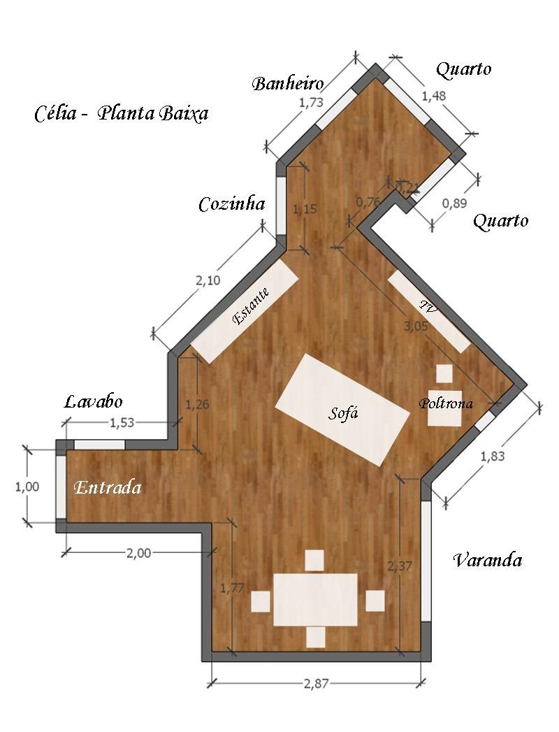 projeto de decoração para uma sala irregular - planta baixa