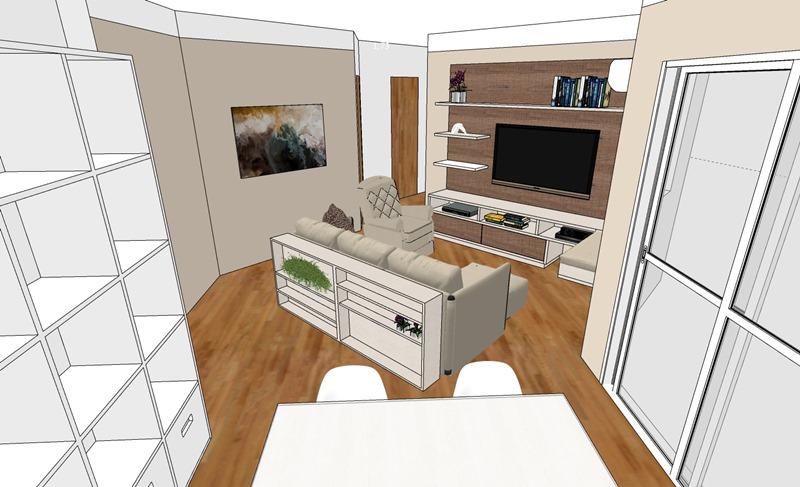 Projeto de decoração para uma sala irregular- Primeira opção - vista
