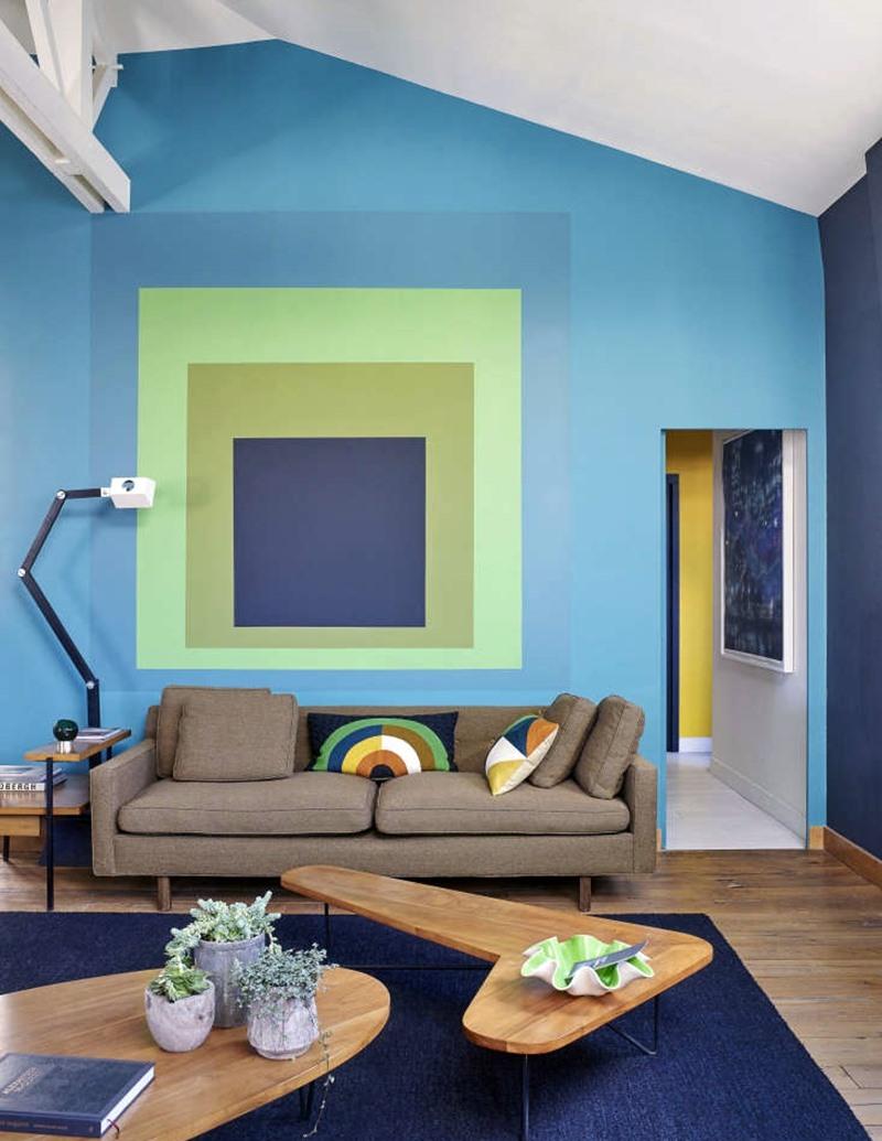 Sala com ponto focal usando verdes