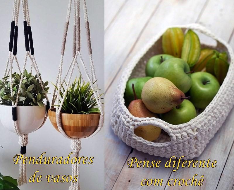 pendurador de vaso em macramê e cesta em crochê
