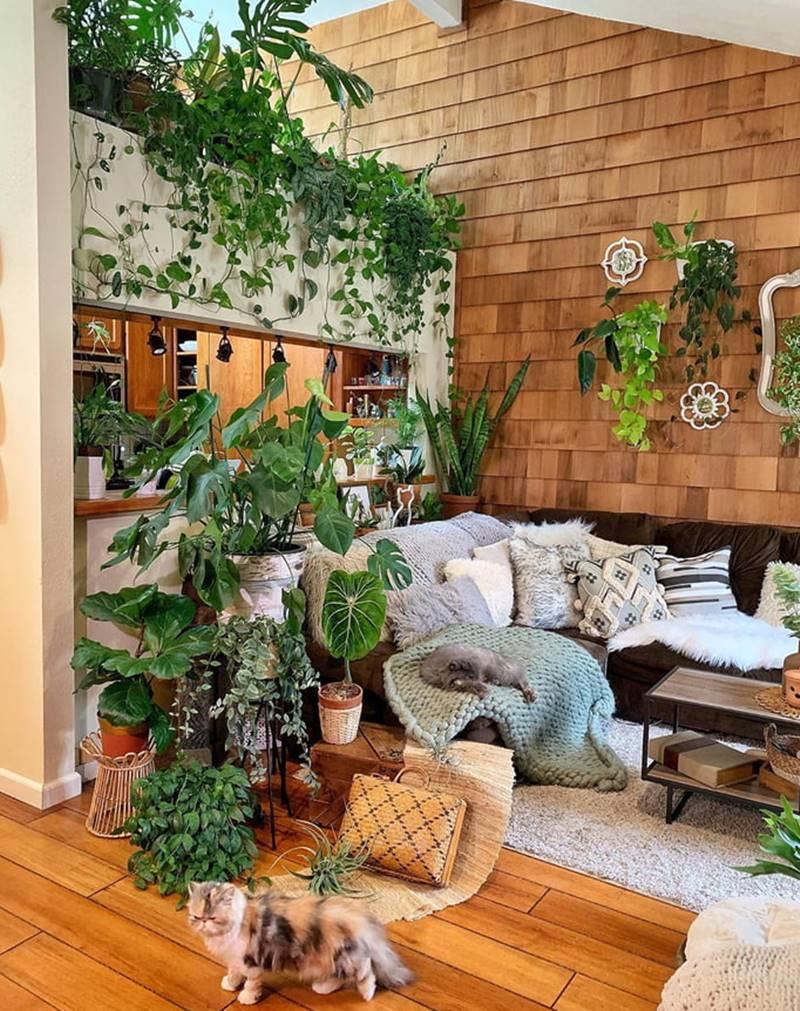 sala em madeira e tijolinho com plantas