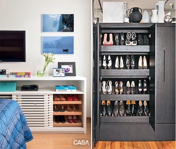 1b9816a7b2 45 ideias para organizar e guardar seus sapatos   Simples Decoracao ...