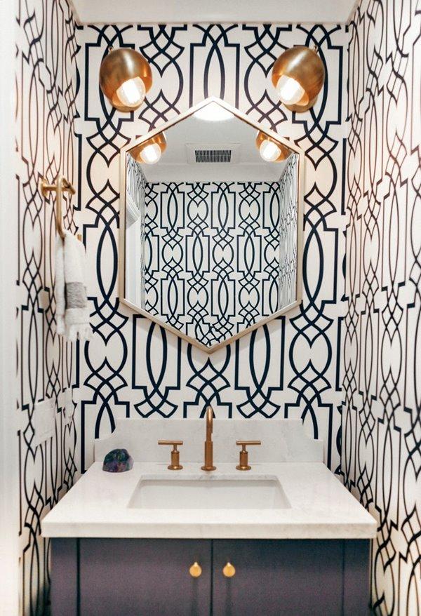 HomeditGeometric-wallpaper-for-powder-room