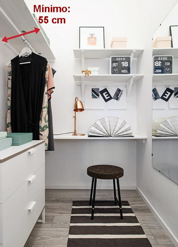 Closets em quartos pequenos